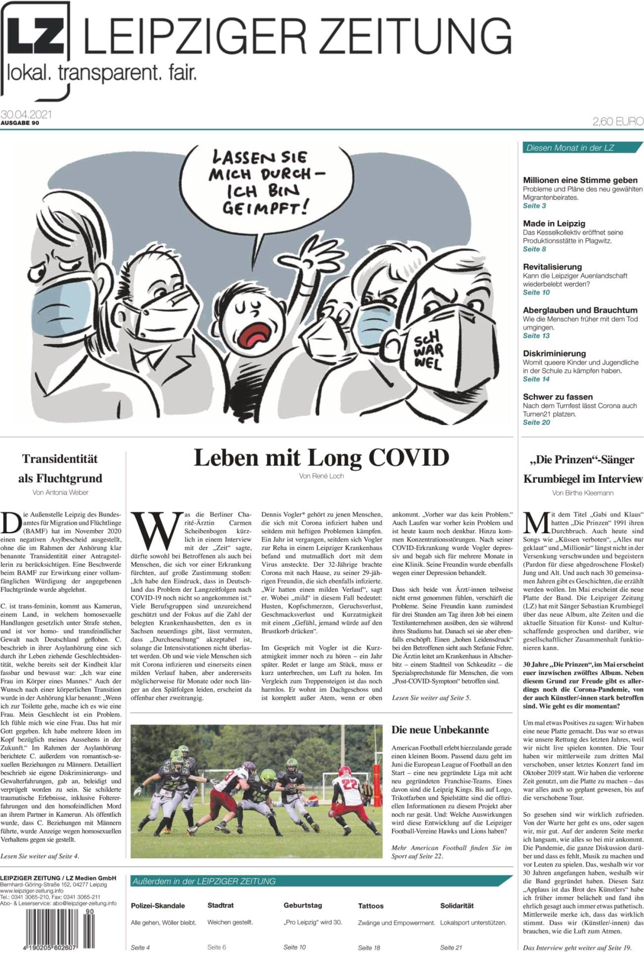Die neue Leipziger Zeitung (LZ) Nr. 90, VÖ 30.04.2021