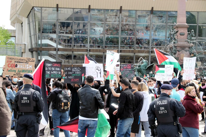 Schilder auf der Palästina-Demo. Foto: LZ