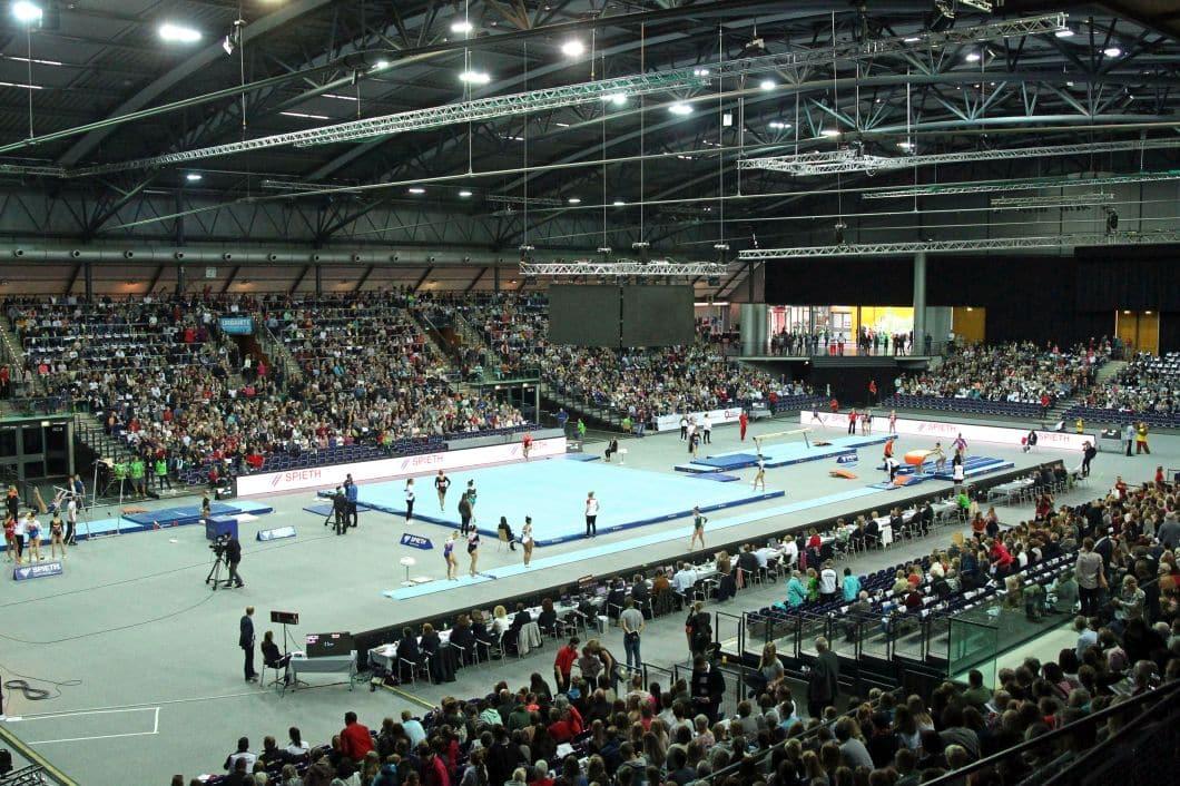 Volle Arena bei der Turn-DM 2018: Auf ein Spektakel in dieser Größenordnung müssen die Leipziger Turnfans vorerst verzichten. Foto: Jan Kaefer