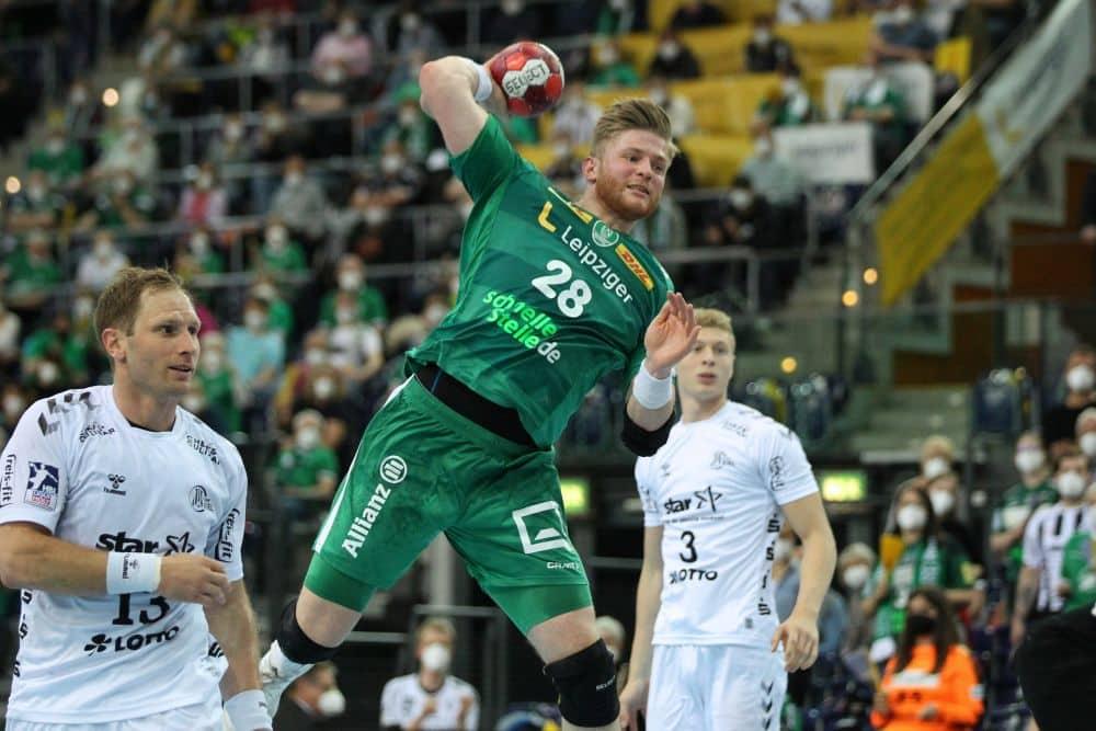 Handball, 1. Bundesliga, Saison 2020/ 2021, 31. Spieltag: SC DHfK Leipzig vs. THW Kiel am 27.05.21 in der Quarterback Immobilien Arena Leipzig. Im Bild: Maciej GEBALA (28, SC DHfK Leipzig)