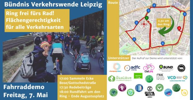 Einladung zur Fahrraddemo am 7. Mai. Grafik: Verkehrswende Leipzig