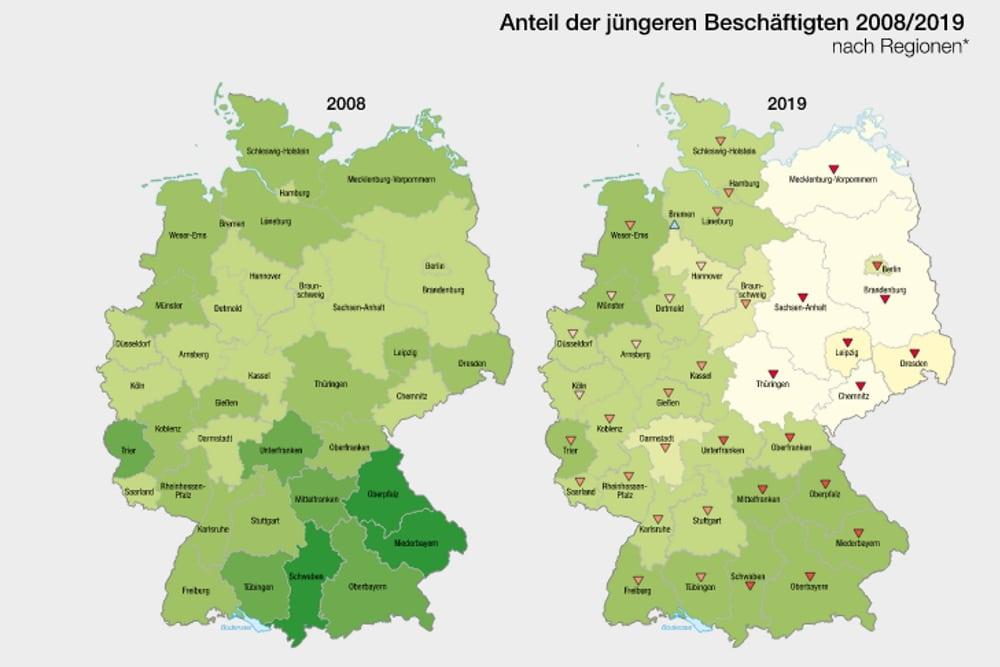 Der Rückgang der jüngeren Berufsjahrgänge seit 2008 besonders in Ostdeutschland. Grafik: Institut für Länderkunde / Nationalatlas