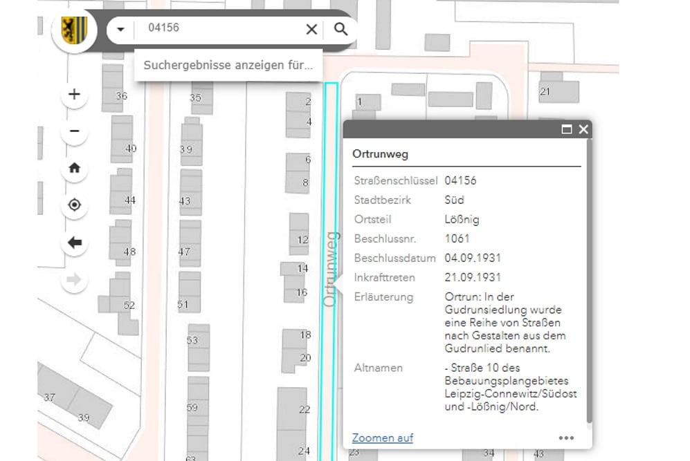 Informationen zum Ortrunweg in Lößnig. Screenshot: LZ