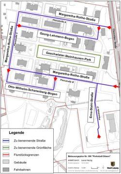Die geplanten Straßenbenennungen in der Parkstadt Dösen. Karte: Stadt Leipzig