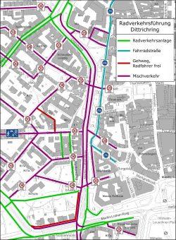 Radverkehrsführung auf dem Dittrichring / Martin-Luther-Ring. Grafik: Stadt Leipzig, Verkehrs- und Tiefbauamt