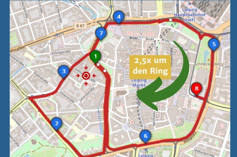 Geplante Route für die Fahrraddemo am 7. Mai. Grafik: Verkehrswende Leipzig