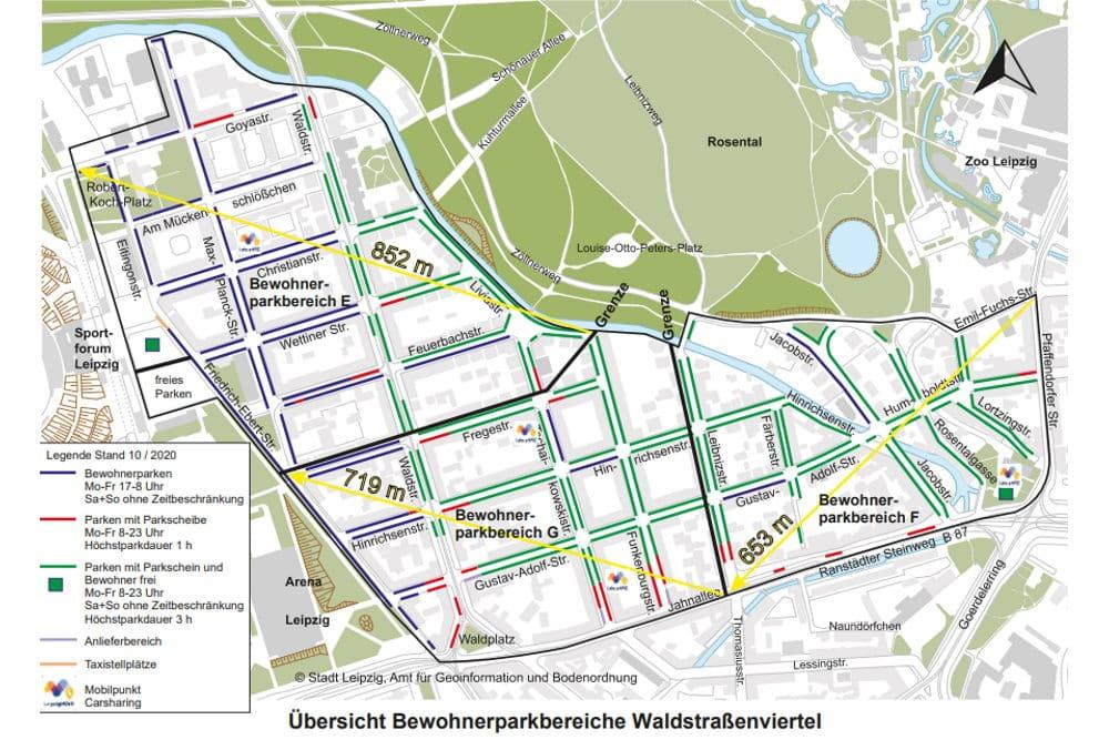 Die neuen Parkzonen im Waldstraßenviertel. Grafik: Stadt Leipzig