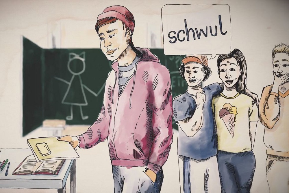 Das Wort schwul wird häufig noch als Schimpfwort benutzt - eine tägliche Diskriminierung, der queere Kinder und Jugendliche ausgesetzt sind. Screenshot: LZ; Quelle: RosaLinde Leipzig e.V.