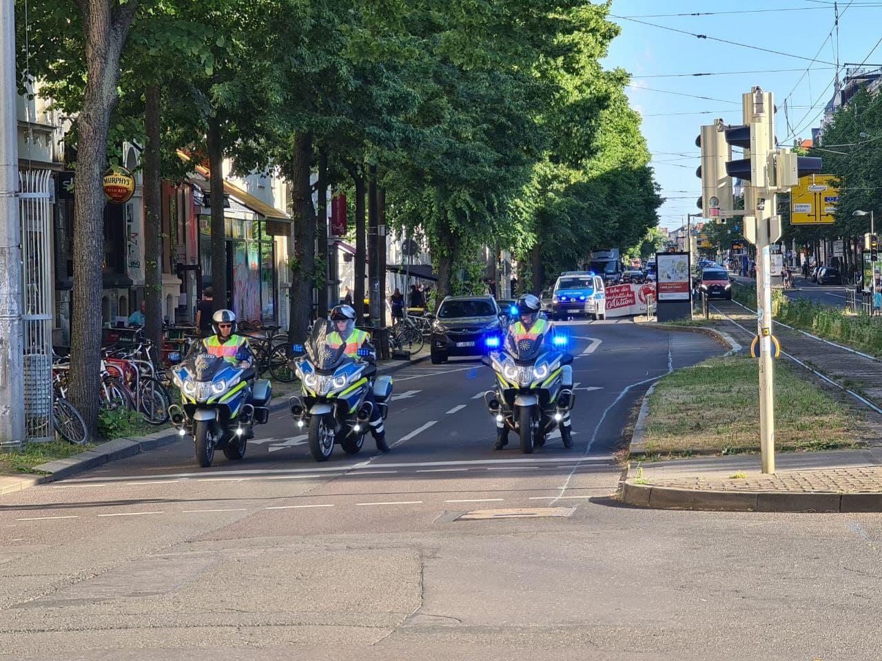 Auch am 14. Juni 2021 war die Polizei mit einem starken Aufgebot auf der Straße. Foto: LZ