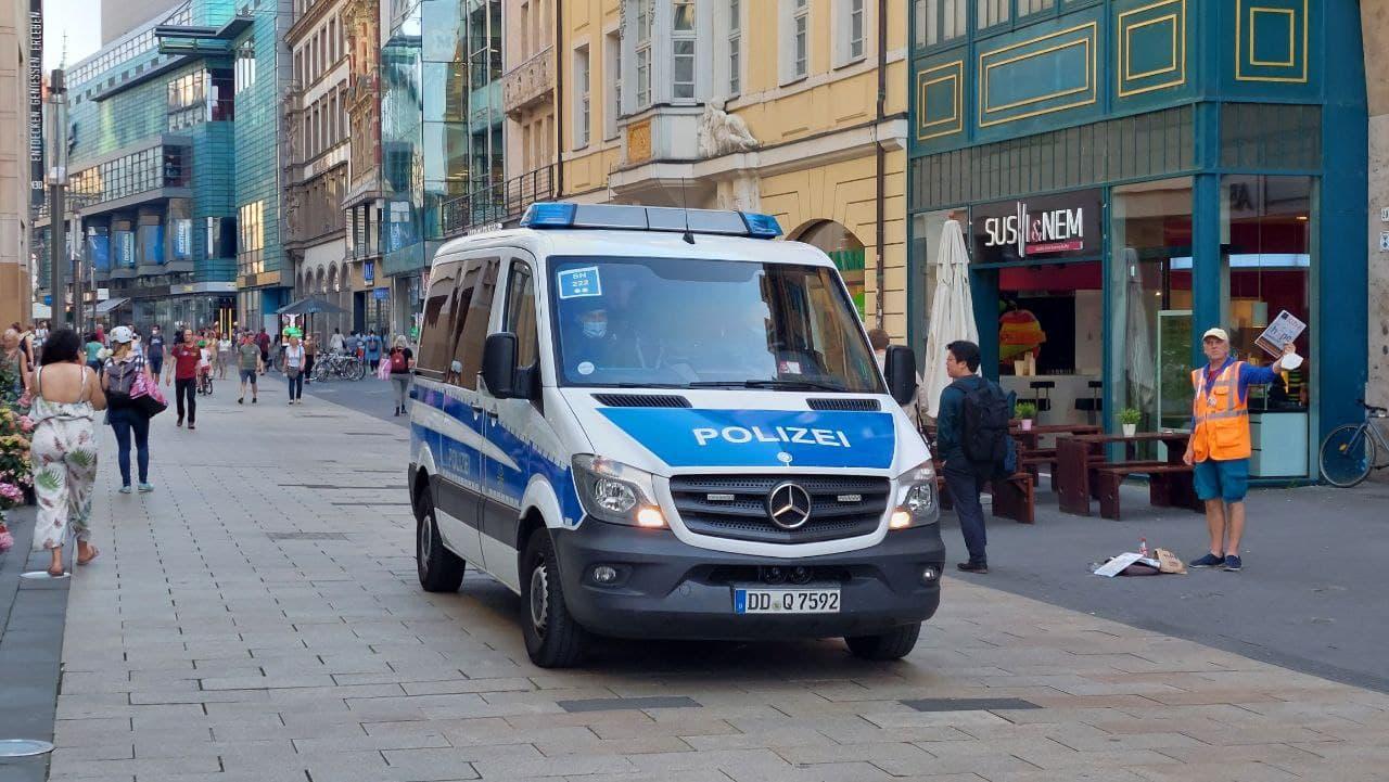 Die Polizei mit starkem Aufgebot im Zentrum. Foto: LZ