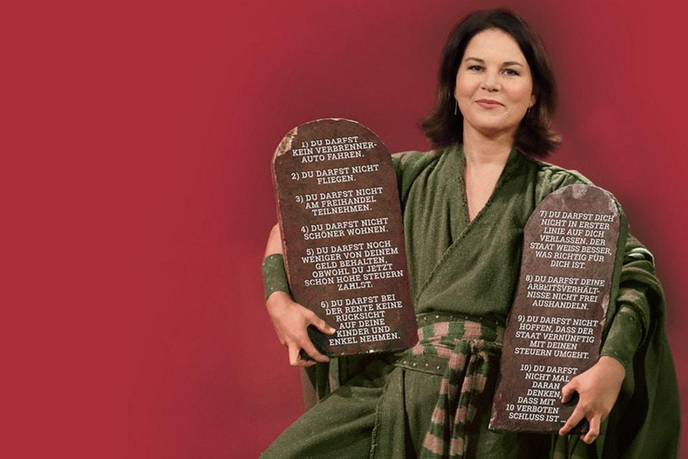 Die INSM-Kampagne mit der zum Moses gemachten Grünen-Vorsitzenden Annalena Baerbock. Grafik: INSM
