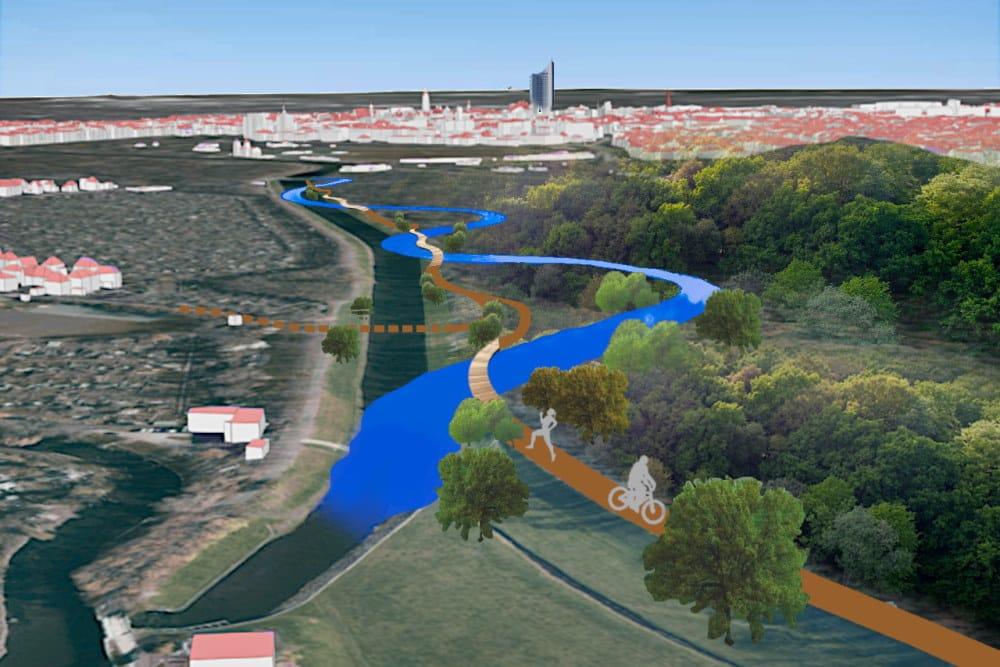 Visualisierung: Könnte so die Zukunft des südlichen Auwaldes aussehen? Freihandskizze einer Vision. Grafik: Ökolöwe