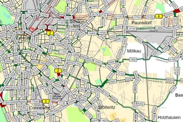 Verkehrszählungen rund um Mölkau 2018 / 2019. Karte: Stadt Leipzig