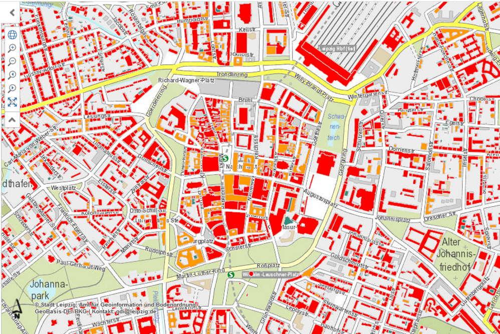 Solardachkataster der Stadt Leipzig: Alle dunkelroten Flächen sind gut geeignet für Solaranlagen. Karte: Stadt Leipzig