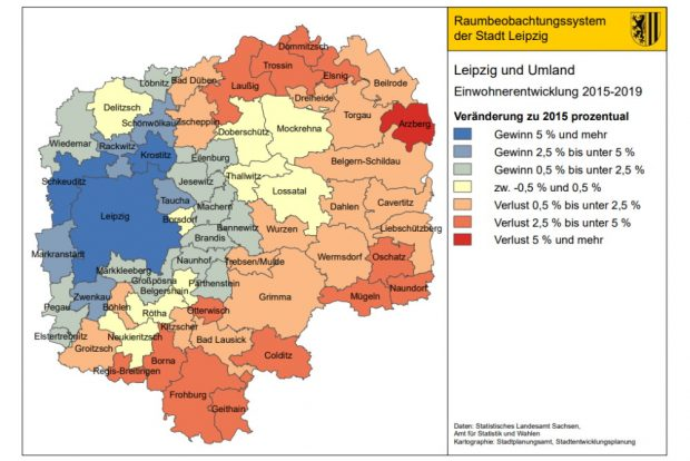 Suburbanisierung in vollem Gang: Wachstum und Schrumpfung in der Region Leipzig. Karte. Stadt Leipzig