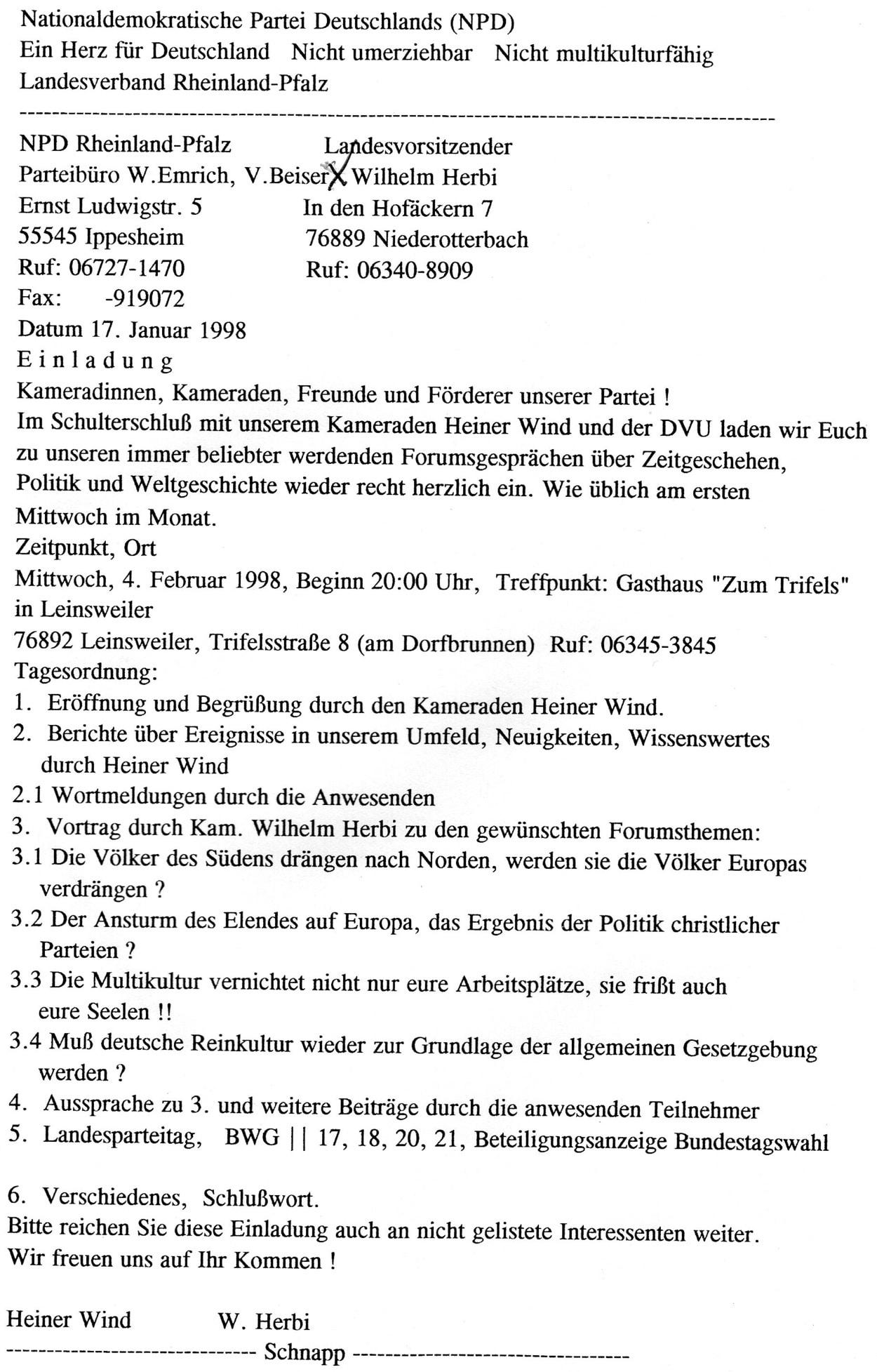 Eine Einladung zum NPD/DVU-Abend aus dem Jahr 1998. Quelle: Vereinigung der Verfolgten des Naziregimes - Bund der Antifaschistinnen und Antifaschisten (VVN-BdA)