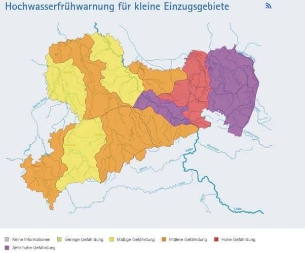 Hochwasserwarnung in Sachsen. Stand 17. Juli 2021, 10 Uhr. Screen umwelt.sachsen.de