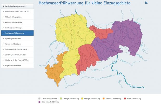 Hochwasser-Frühwarnung Ostsachsen. Screen umwelt.sachsen.de