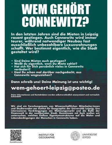 """Der Flyer """"Wem gehört Connewitz?"""" Grafik: Uni Leipzig, Institut für Geographie"""