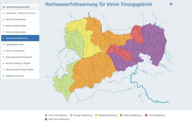 So sah die HOchwasserwarnung am Sonntag aus: da floss es bereits aus den lilanen Gebieten ab. Foto: Screen Hochwasserwarnsystem Land Sachsen
