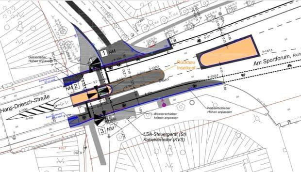 Planzeichnung für die neue Fußgängerampel am Elsterradweg. Karte: Stadt Leipzig