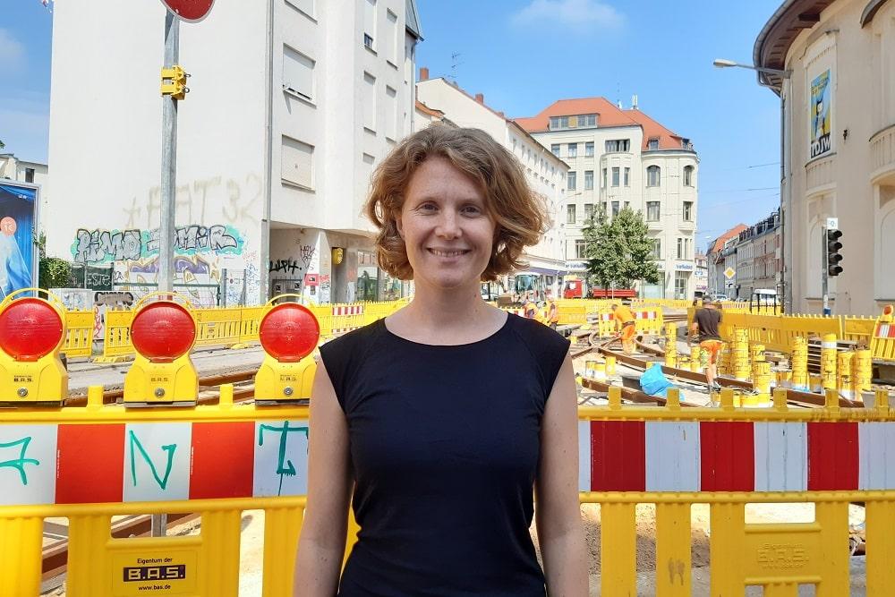 Linken-Direktkandidatin bei der Bundestagswahl 2021 Nina Treu (Wahlkreis Leipzig-Nord)