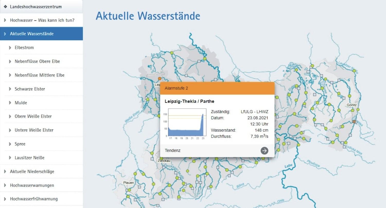 Hochwasserstufe 2 an der Leipziger Parthe in Thekla. Screen Hochwasserzentrale Sachsen
