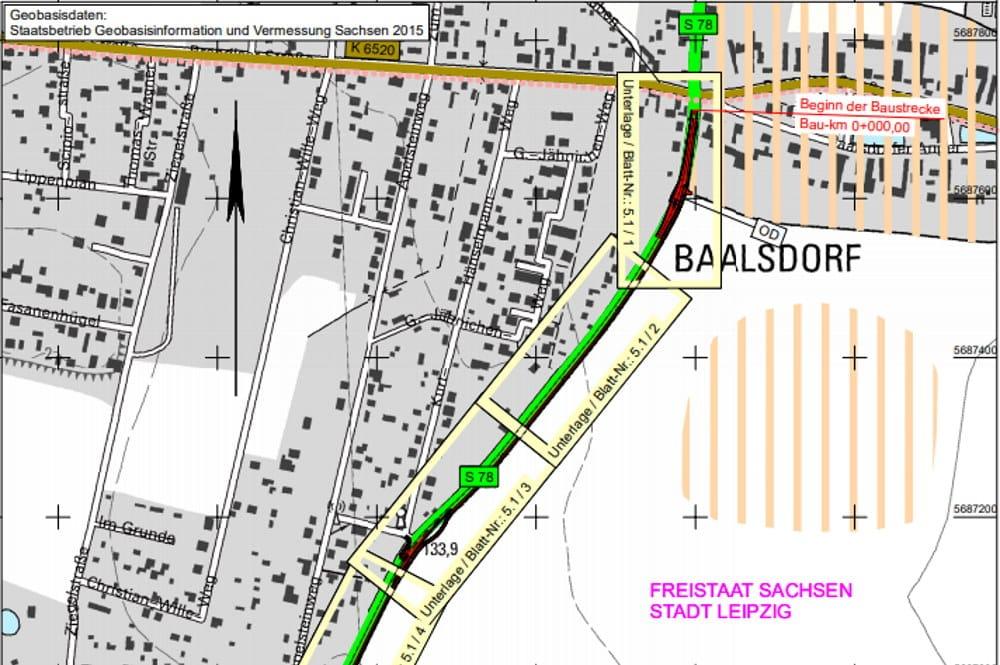 Der nördliche Teil des geplanten Radweges zwischen Baalsdorf und Holzhausen. Karte: Stadt Leipzig, VTA