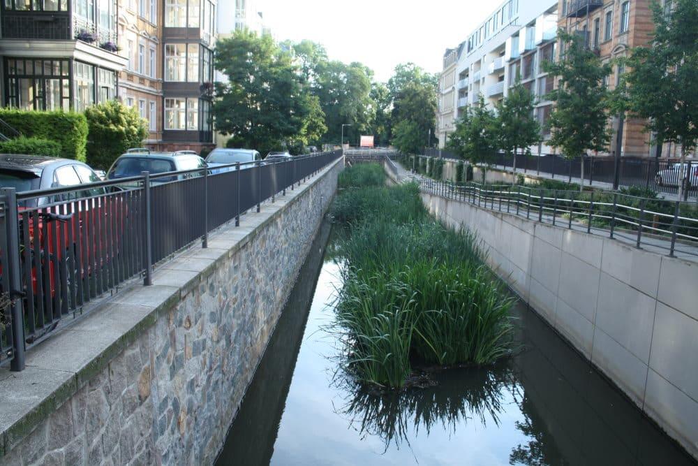 Der Elstermühlgraben zwischen Friedrich-Ebert-Straße und Elsterstraße - links noch mit geparkten Autos. Foto: Ralf Julke