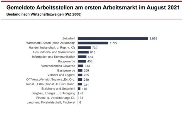 Gemeldete freie Stellen nach Wirtschaftszweigen. Grafik: Arbeitsagentur Leipzig