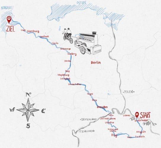 Die Route auf dem Elberadweg. Karte: Tastdem.de