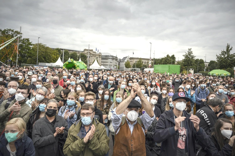Gut besucht zum Wahlkampfhöhepunkt der Grünen auf dem Leuschner. Foto: Tim Wagner