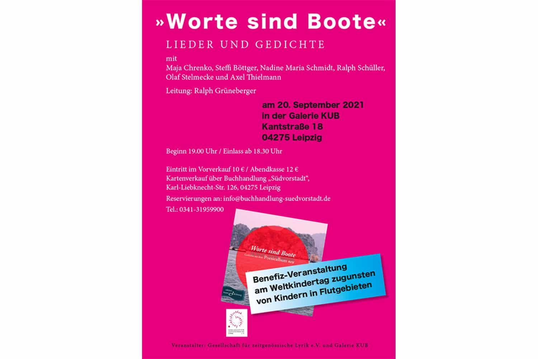 """Benefiz-Veranstaltung """"Worte sind Boote"""". Grafik: Gesellschaft für zeitgenössische Lyrik e.V."""