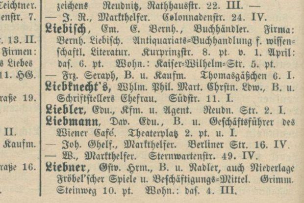 Eintrag im Leipziger Adressbuch von 1888. Quelle: SLUB