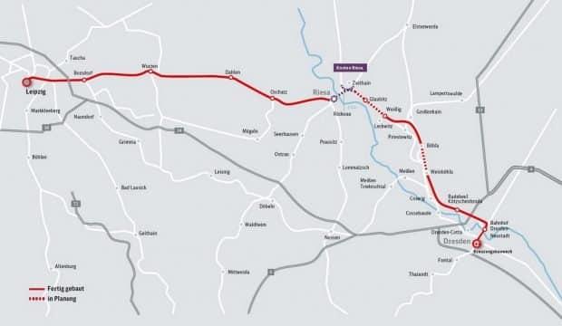 Die Ausbaustrecke Leipzig - Dresden mit dem Bauabschnitt Zeithain - Leckwitz. Grafik: DB AG