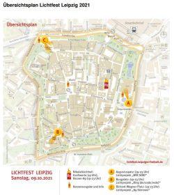Übersichtsplan zum Lichtfest 2021. Grafik: Stadt Leipzig