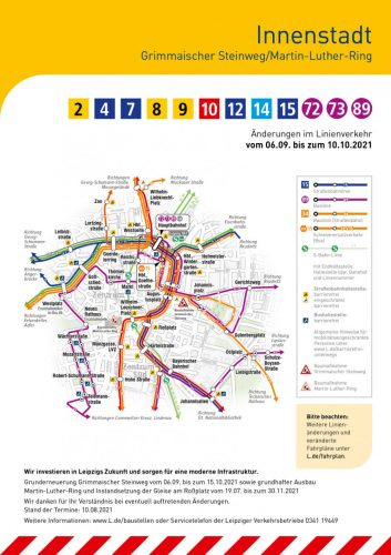Die neuen Umleitungen der LVB rund um den Promenadenring am 6. September 2021. Karte: LVB