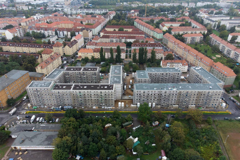 Blick (Drohne) auf die LWB Baustelle in der Saalfelder Straße (Sept. 2021). Foto: LWB Peter Usbeck