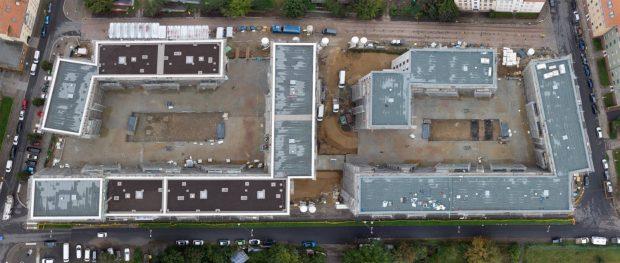 Draufsicht (Drohne) auf die LWB Baustelle in der Saalfelder Straße (Sept. 2021), Foto: LWB Peter Usbeck