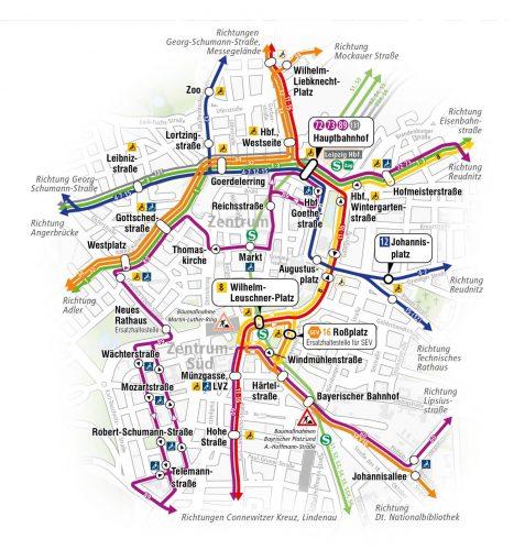 Umleitungen für Straßenbahnen ab 11. Oktober. Grafik: LVB